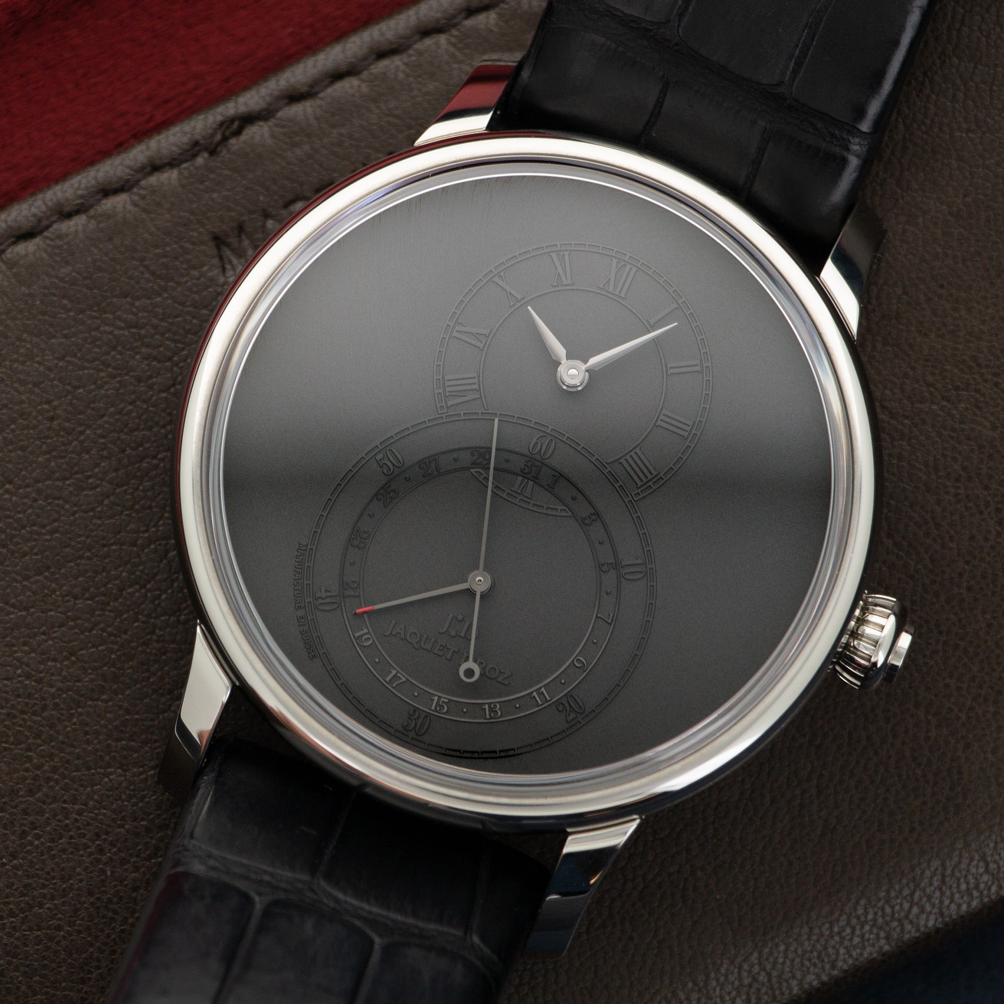 Jaquet Droz Grande Seconde J007030240 Steel  Unworn Gents Steel Grey 43mm Automatic 2018 Black Crocodile Original Box and Certificate