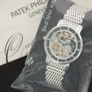 Patek Philippe Skeleton 5180/1G 18k WG  Unworn, Single Sealed Gents 18k WG Skeletonized 39mm Manual 2016 White Gold Bracelet Original Box and Certificate