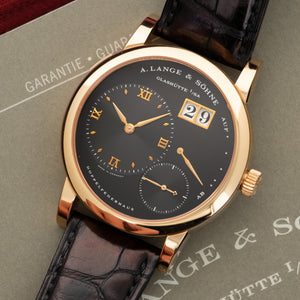 A. Lange & Sohne Lange 1 101.031 18k RG  Likely Never Polished, Original Finish Gents 18k RG Black 38.5mm Manual 2002 Black Crocodile Original Box and Certificate