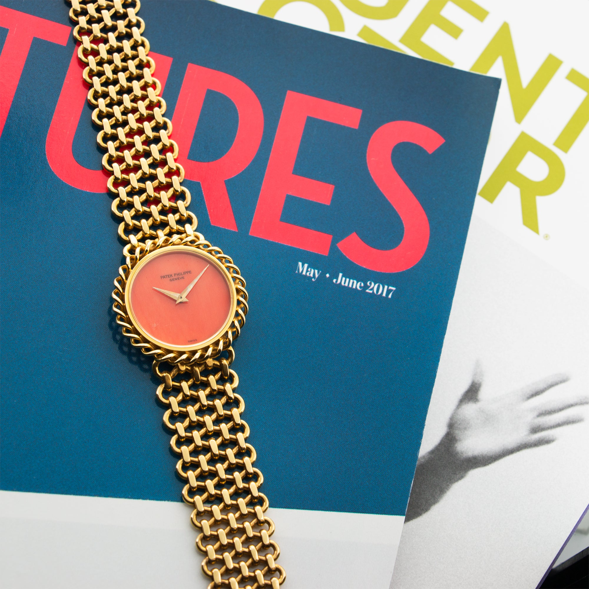 Patek Philippe Vintage 4282 18k YG  Very Good Ladies 18k YG Coral 28mm Manual 1970s Yellow Gold N/A