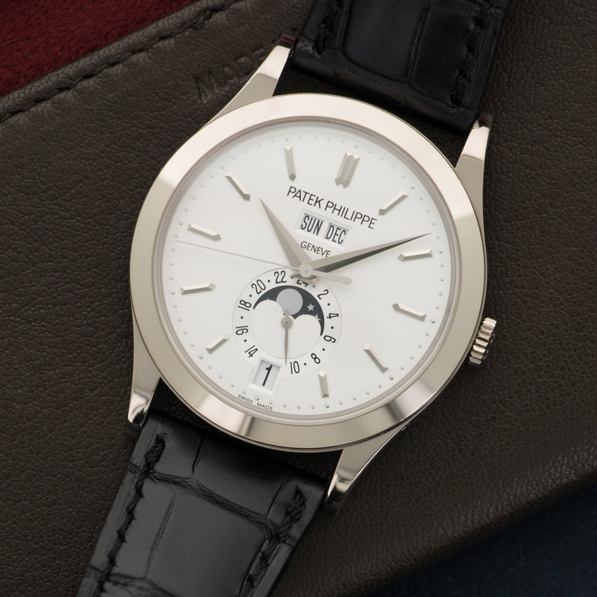Patek Philippe Annual Calendar 5396G 18k WG  Overall Mint Original Condition Gents 18k WG Silver 38mm Automatic Current Black Crocodile Strap Original Box