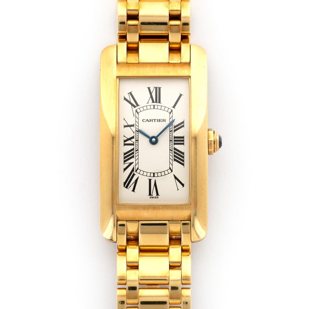 Cartier Tank Americaine 1721 18k YG  Mint Unisex 18k YG Silver Dial with Black Numerals 22 X 41mm Quartz 1990s Yellow Gold Bracelet Original Box