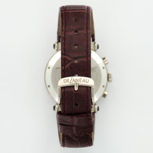DeLaneau 3 Time Zones N/A 18k WG  New Unisex 18k WG White 38mm Automatic/Quartz 2000s Burgundy Crocodile Strap B+P