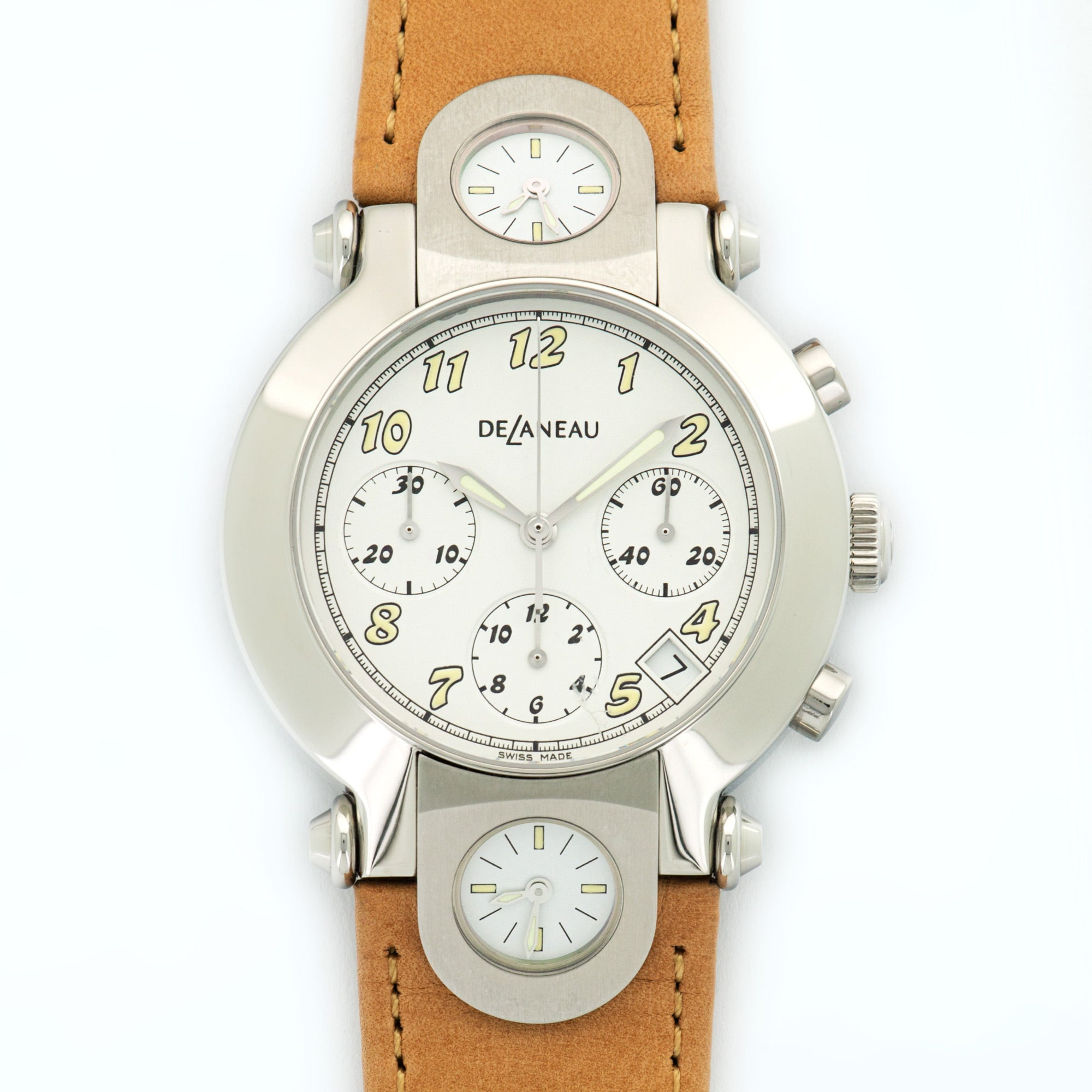 DeLaneau 3 Time Zones N/A Stainless Steel  Unworn Gents Stainless Steel White 38mm Automatic 2000s Leather N/A