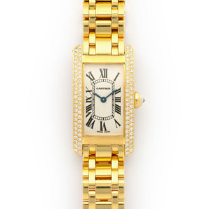 Cartier Tank Americaine WB7043JQ 18k YG  Excellent Ladies 18k YG Silver 19mm X 23mm Quartz Early 2000s Yellow Gold Bracelet Original Box