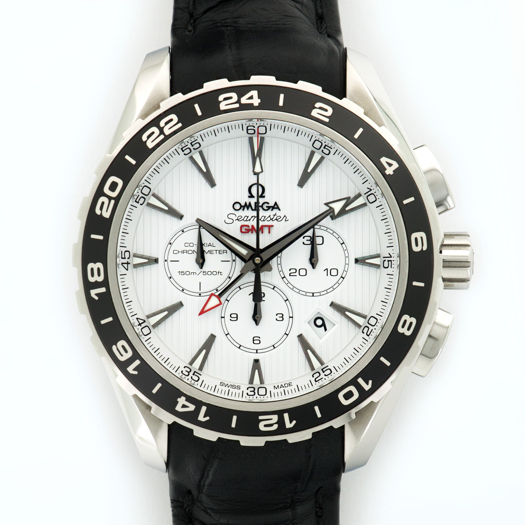 Omega Speedmaster 231.13.44.52.04 Steel  Excellent Gents Steel White 44mm Automatic Current Black Crocodile B+P