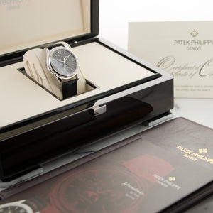 Patek Philippe Annual Calendar 5146G 18k WG  Signs of Average Wear, Original Finish Gents 18k WG Grey 39mm Automatic 2008 Black Crocodile Original Box and Certificate