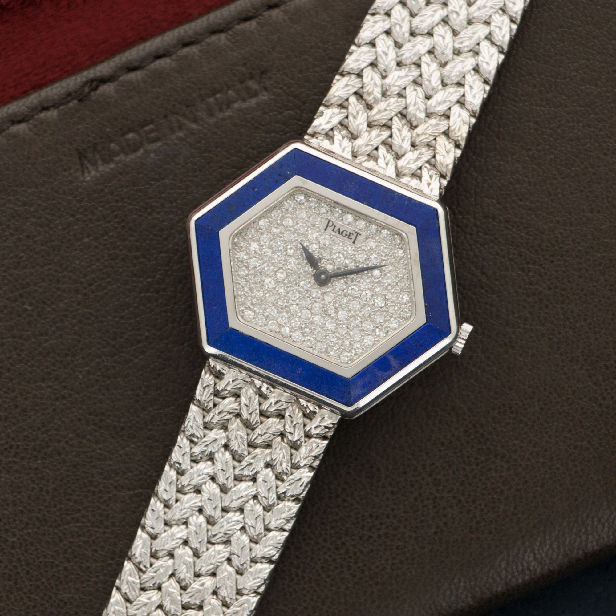 Piaget Vintage 9553 18k WG  Excellent Ladies 18k WG Pave Diamond 30mm Manual 1970s White Gold Bracelet (165mm) Handmade Leather Travel Pouch