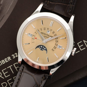Patek Philippe Perpetual Calendar Retrograde 5496P-014 Platinum  Likely Never Polished, Original Finish Gents Platinum Salmon Dial 39.5mm Automatic Late 2000s Dark Brown Crocodile Archive Paper and Second Caseback