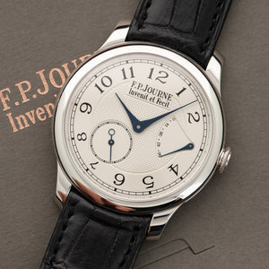 FP Journe Chronometre Souverain N/A Platinum  Likely Never Polished, Original Finish Gents Platinum Silver 40mm Manual 2000s Black Crocodile Original Box and Service Paper