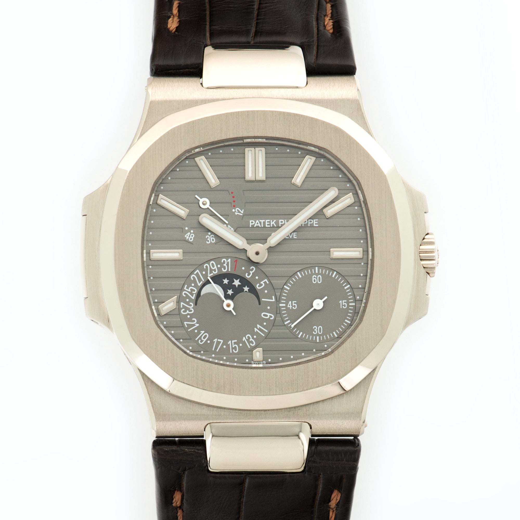 Patek Philippe Nautilus 5712G 18k WG  Mint Gents 18k WG Grey 40mm Automatic 2009 Dark Brown Crocodile B+P