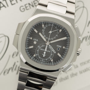 Patek Philippe Nautilus Chronograph 5990/1A Steel  Likely Never Polished, Original Finish Gents Steel Black 40.5mm Automatic 2015 Stainless Steel Original Box and Certificate