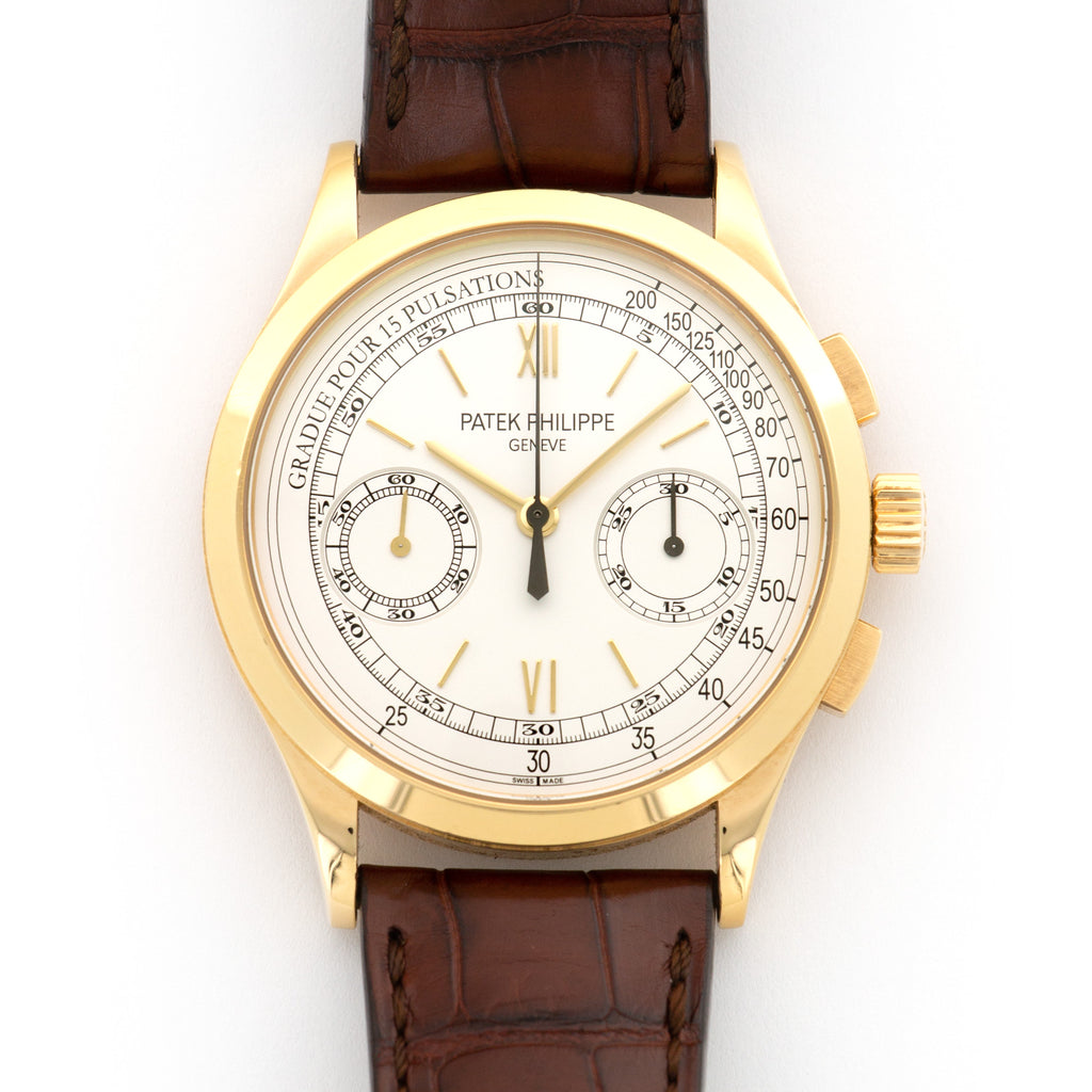 Patek Philippe Chronograph 5170J-001 18k YG  Likely Never Polished, Original Finish Gents 18k YG Silver 39mm Manual 2016 Brown Crocodile Original Warranty Paper