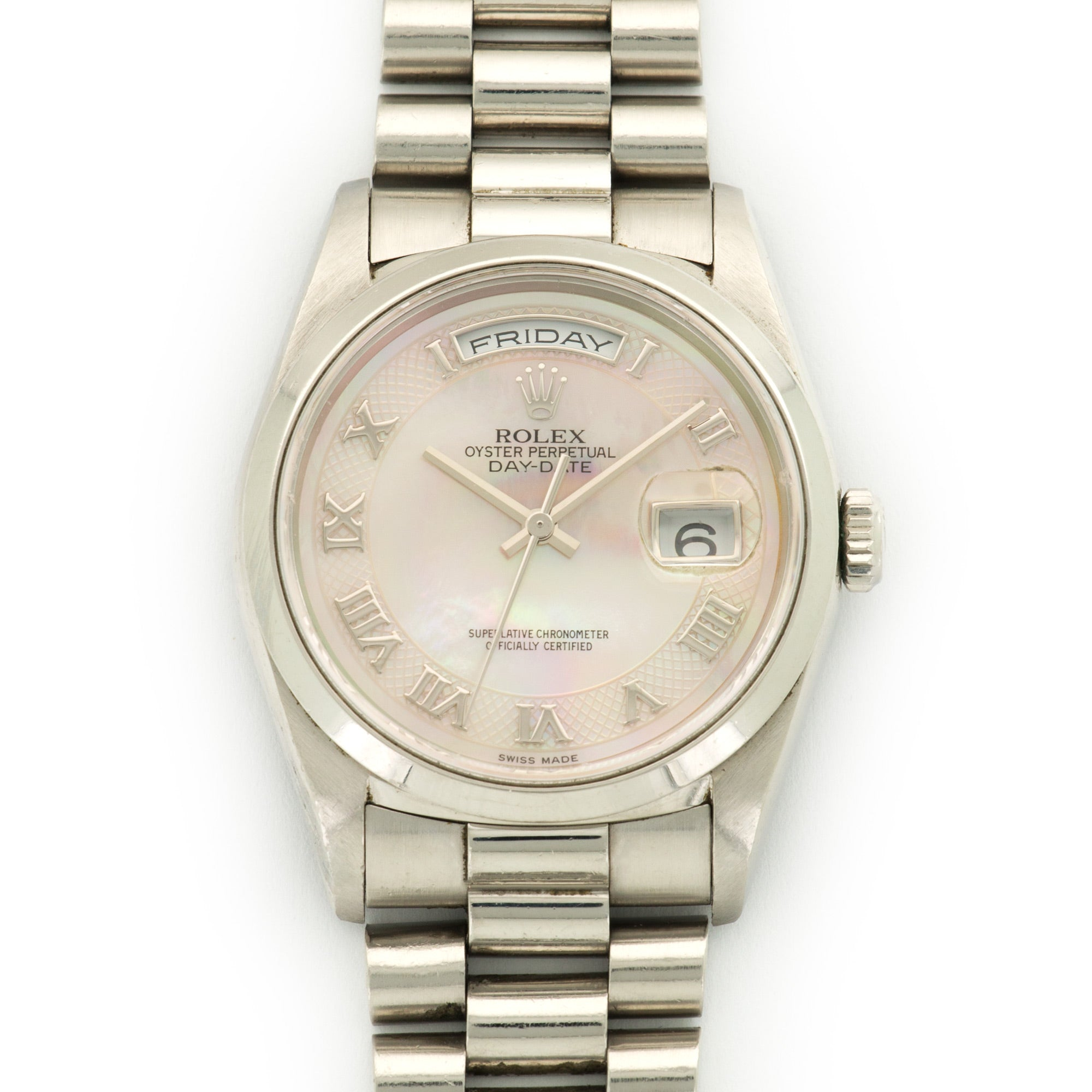 Rolex Day-Date 18206 Platinum  Likely Never Polished, Original Finish Unisex Platinum Pink Mother of Pearl with Roman Indexes 36mm Automatic 1999 Platinum Bracelet Handmade Leather Travel Pouch