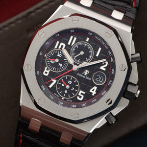 Audemars Piguet Royal Oak Offshore 26470ST.OO.A10 Steel  Likely Never Polished, Original Finish Gents Steel Black 43mm Automatic Current Black Crocodile with Red Stitching Original Box and Certificate