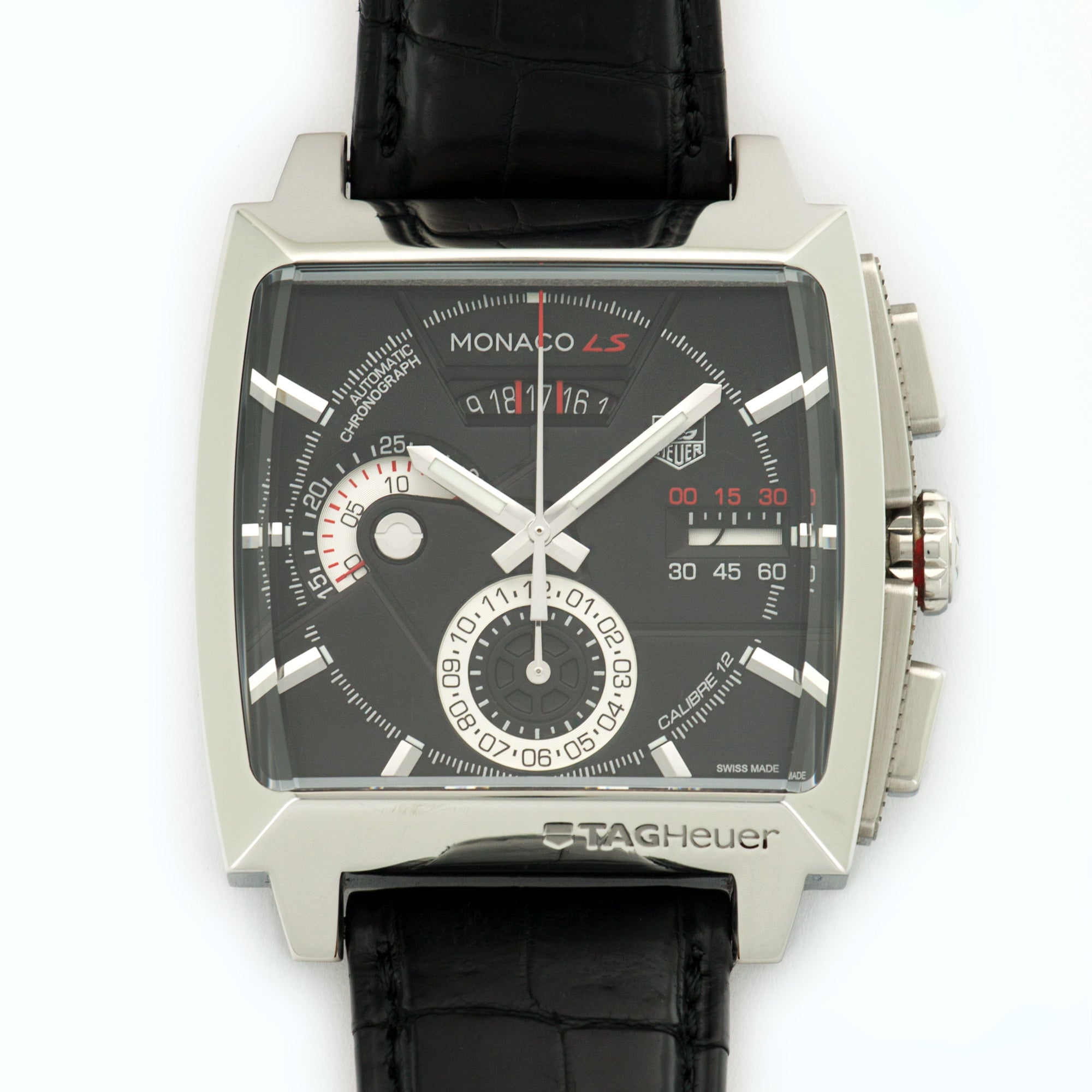 Tag Heuer Monaco CAL2110 Steel  Excellent Gents Steel Black 40.5mm Automatic Current Black Crocodile N/A