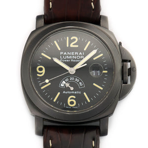 Panerai Luminor Power Reserve PAM28 PVD Steel  Signs of Average Wear, Original Finish Gents PVD Steel Black with Tritium Luminous 44mm Automatic 2000s Brown Crocodile Original Box and Certificate
