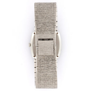 Piaget Vintage 9231 18k WG  Likely Never Polished, Original Finish Ladies 18k WG Silver 22mm Manual 1970s White Gold Bracelet Leather Travel Case