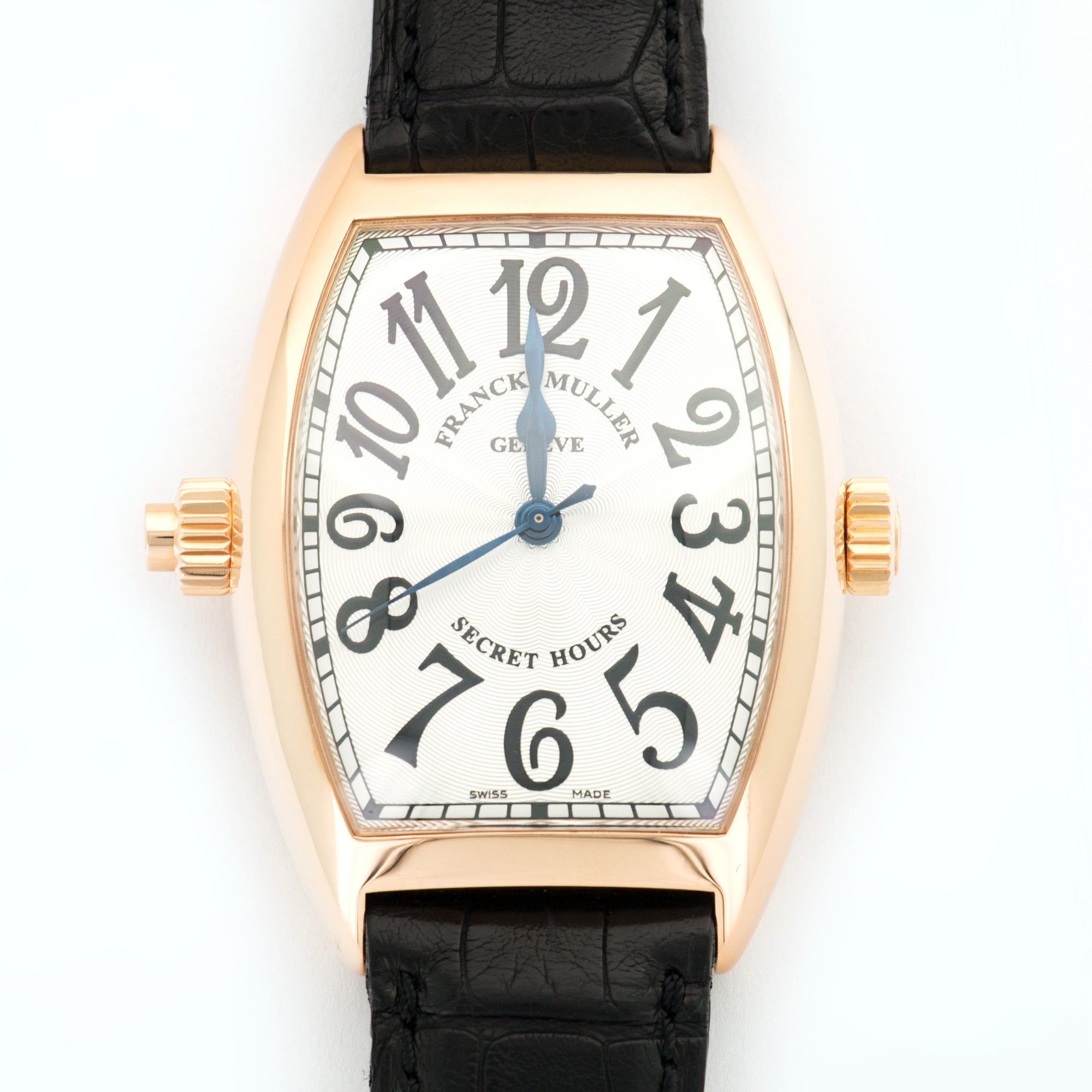 Franck Muller Secret Hours 7880 SE H I 18k RG  Mint Gents 18k RG Silver 36mm X 50mm Automatic Current Black Crocodile B+P