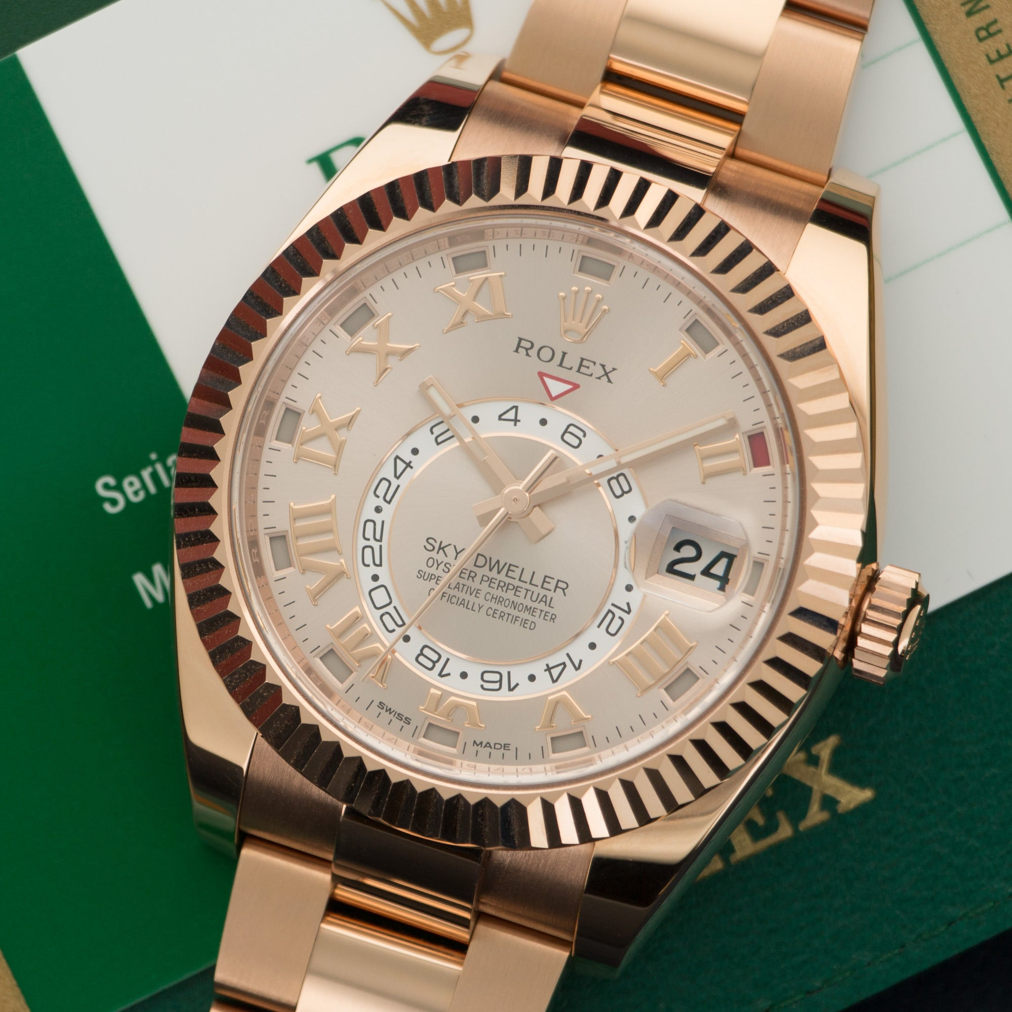 Rolex Sky-Dweller 326935 18k RG  Mint Gents 18k RG Rose with Roman Numerals 42mm Automatic 2017 Rose Gold Box, Manuals, Warranty Card