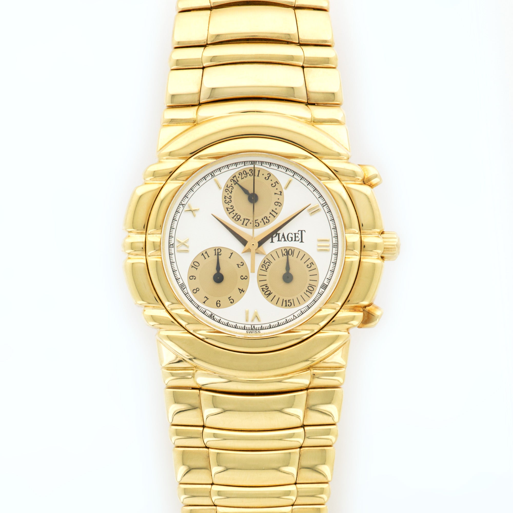 Piaget Tanagra 14081 18k YG  Excellent Unisex 18k YG White with Gold Subdials 35mm Manual 1990s Yellow Gold Bracelet (6 3/4) N/A