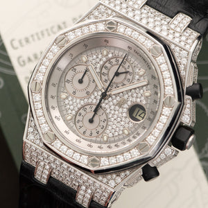 Audemars Piguet Royal Oak Offshore 26067BC.ZZ.D002CR.01 18k WG  Likely Never Polished, Original Finish Gents 18k WG Pave Diamond 42mm Automatic 2012 Black Crocodile Original Box and Certificate