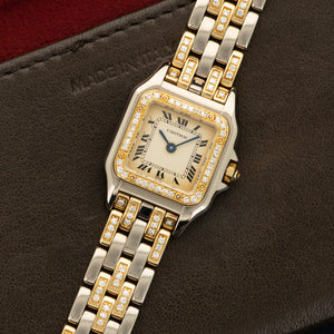 Cartier Panthere N/A WG/YG  Excellent Ladies WG/YG Cream 20mm Quartz 1990s Two Tone Gold Bracelet with diamonds Handmade Leather Travel Pouch