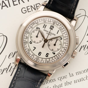 Patek Philippe Chronograph 5070G-001 18k WG  Likely Never Polished, Original Finish Gents 18k WG Silver 42mm Manual Early 2000s Black Crocodile Original Box and Certificate