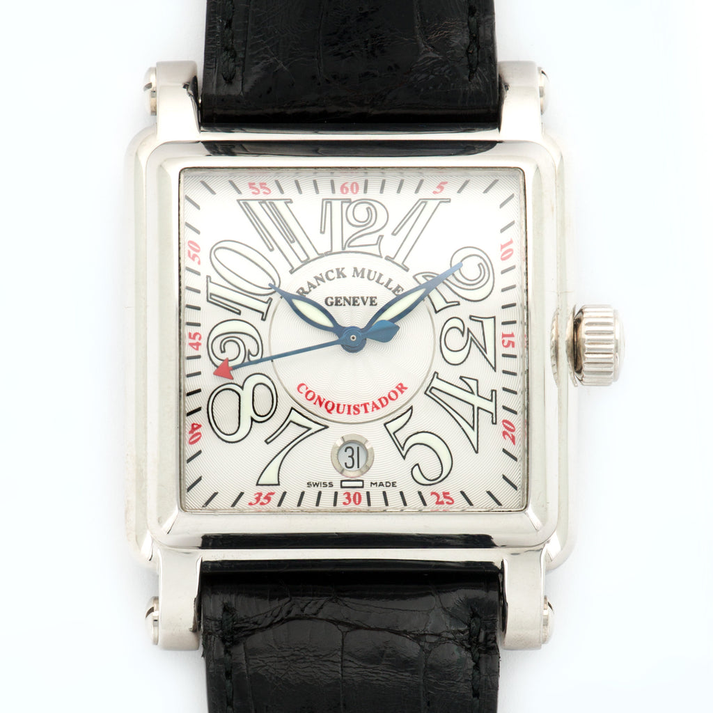 Franck Muller Conquistador 10000 SC 18k WG  Very Good Gents 18k WG Silver 40mm X 54mm Automatic 2000s Black Crocodile Box