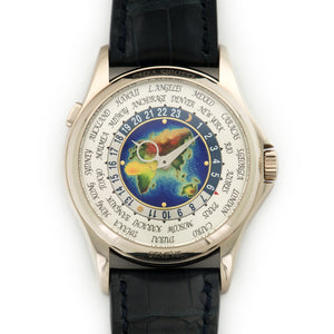 Patek Philippe World Time 5131G 18k WG  Likely Never Polished, Original Finish Gents 18k WG Multi-Color Enamel 39.5mm Automatic 2011 Dark Blue Crocodile Original Box and Certificate