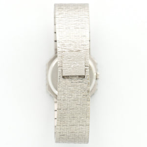 Piaget Vintage 93418 18k WG  Excellent Ladies 18k WG Pave Diamond 24 X 26mm Manual 1970s White Gold Bracelet Leather Travel Case