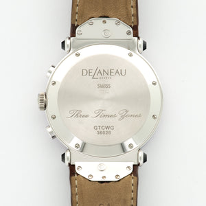 DeLaneau 3 Time Zones N/A 18k WG  Unworn Unisex 18k WG Pink MOP 38mm Automatic/Quartz 2000s Brown Crocodile B+P