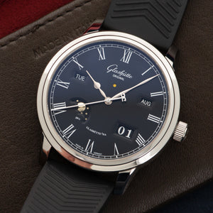 Glashutte Senator 100-02-25-12-04 Steel  Unworn Gents Steel Black 42mm Automatic 2018 Black Rubber Original Box and Certificate