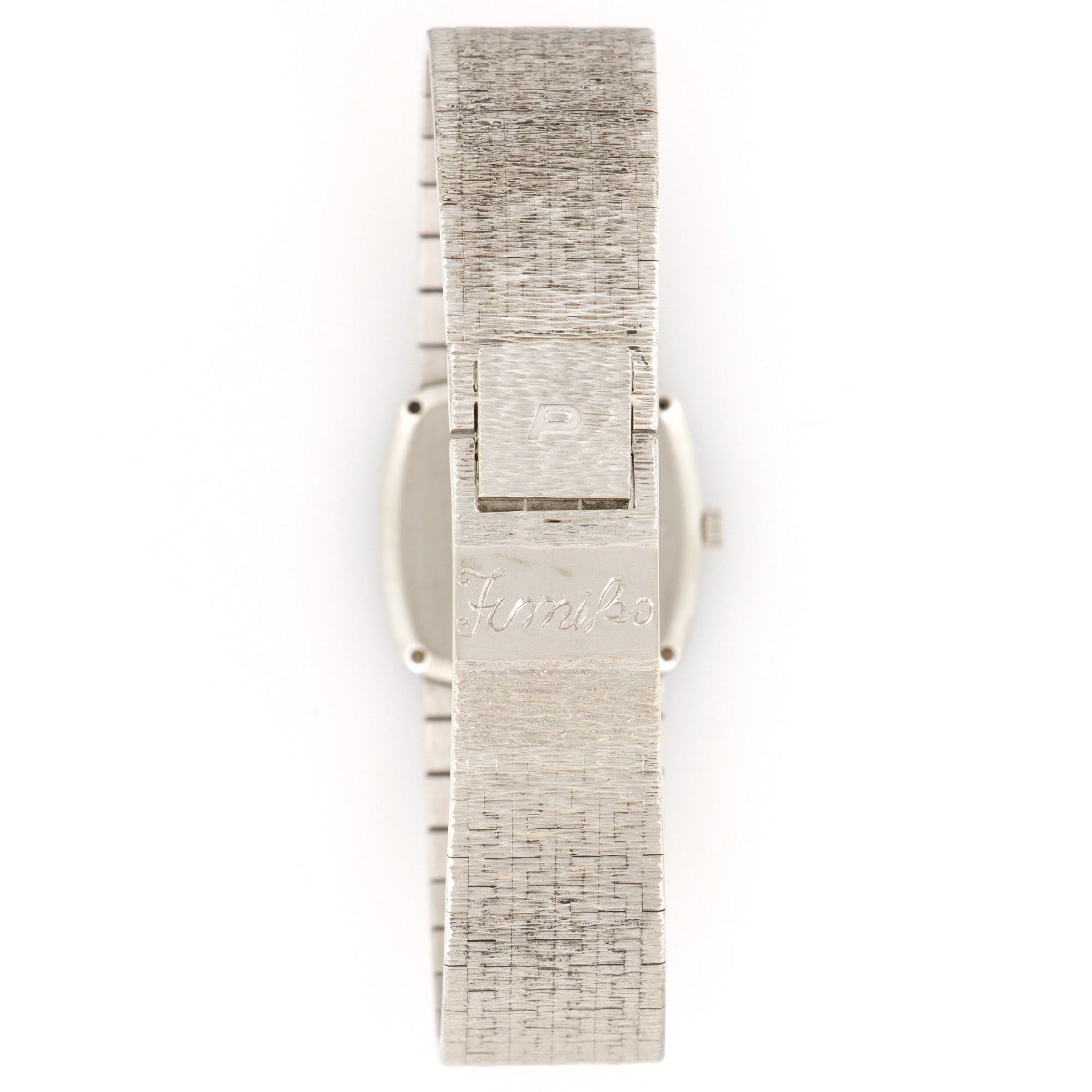 Piaget Vintage 9236 18k WG  Excellent Ladies 18k WG Original Silver Dial 24mm Manual 1970s White Gold Bracelet Leather Travel Case
