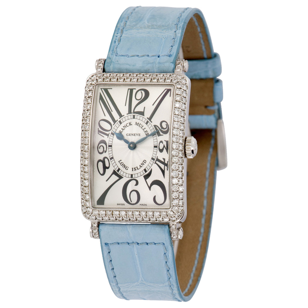 Franck Muller Long Island 952QZD 18k WG  Excellent Ladies 18k WG Silver Dial with Arabic Numerals 26mm Quartz 2000s Leather Travel Case