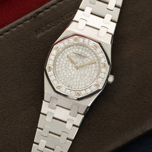 Audemars Piguet Royal Oak N/A 18k WG  Excellent Ladies 18k WG Pave Diamond 27mm Quartz 1990s White Gold Bracelet (6 3/4) Handmade Leather Travel Pouch