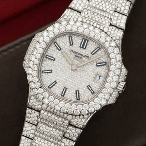 Patek Philippe Nautilus 5711/1A Steel  Mint Unisex Steel Custom Pave Diamonds 40mm Automatic Current Stainless Steel with Custom Diamonds Leather Travel Case