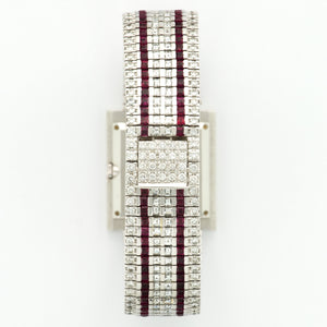 Piaget Vintage 9154 18k WG  Excellent Unisex 18k WG Pave Diamond 27mm Manual 1980s White Gold Bracelet with Custom Diamonds and Rubies N/A