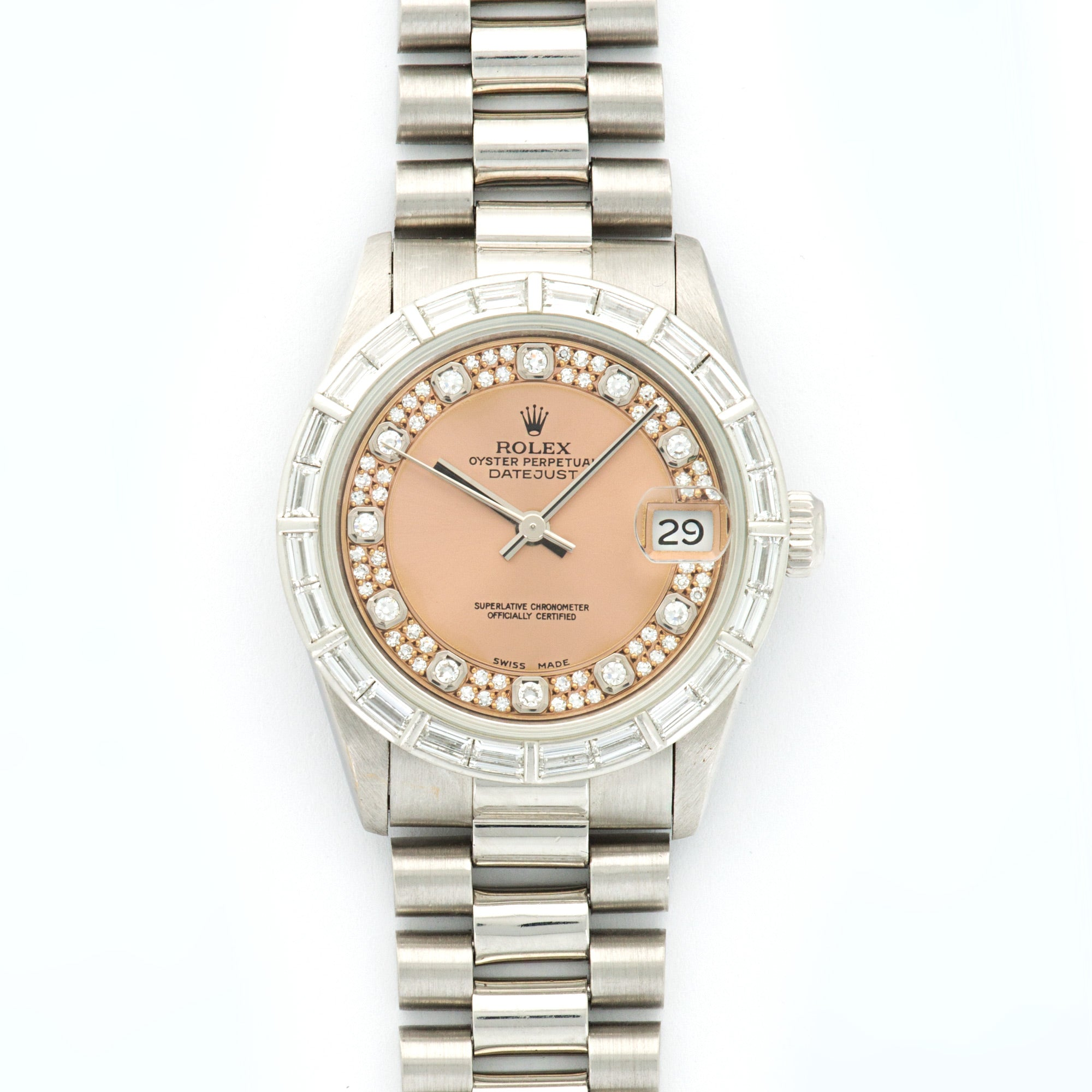 Rolex Datejust 68266 PLT  Excellent Ladies PLT Pink with Diamond Markers 31mm Automatic 1990s Platinum Bracelet with diamonds N/A