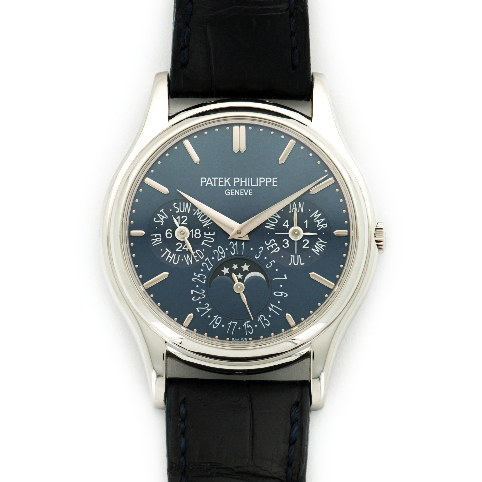 Patek Philippe Perpetual Calendar 5140P Platinum  Likely Never Polished, Original Finish Gents Platinum Blue 37.5mm Automatic 2014 Dark Blue Crocodile Original Box and Certificate