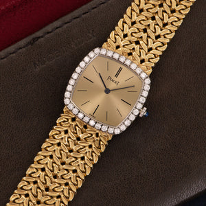 Piaget Vintage 9236 18k YG  Excellent Ladies 18k YG Gold Dial with Stick Markers 23mm Manual 1970s Yellow Gold Bracelet Handmade Leather Travel Pouch