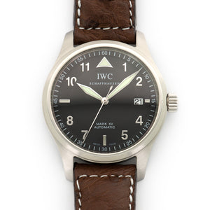 IWC Mark XV IW325311 Steel  Excellent Gents Steel Black with Numerals 38mm Automatic 2000s Brown Strap Leather Travel Case