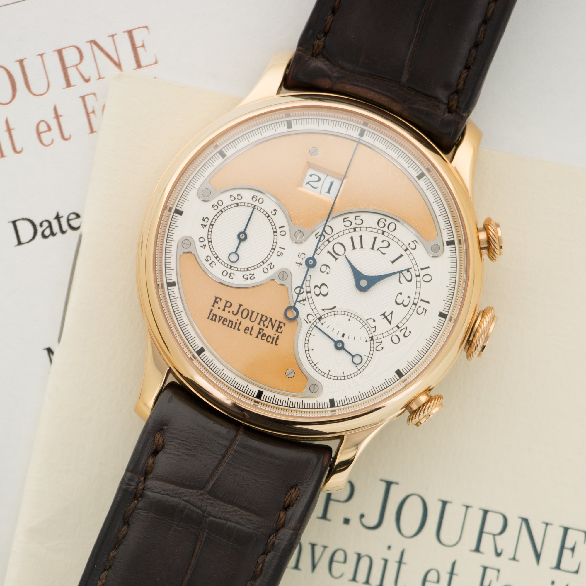 FP Journe Octa Chrono N/A 18k RG  Likely Never Polished, Original Finish Gents 18k RG Rose Gold 38mm Automatic 2011 Dark Brown Crocodile Original Box and Certificate