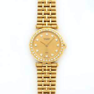 Van Cleef & Arpels Classiques 16601 18k YG  Mint Ladies 18k YG Gold with Diamond Markers 26mm Quartz 1990s Yellow Gold Bracelet