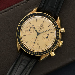 Omega Speedmaster N/A 18k YG  Likely Never Polished, Original Finish Gents 18k YG Gold 37mm Automatic 1980s Black Leather Strap Handmade Leather Travel Pouch