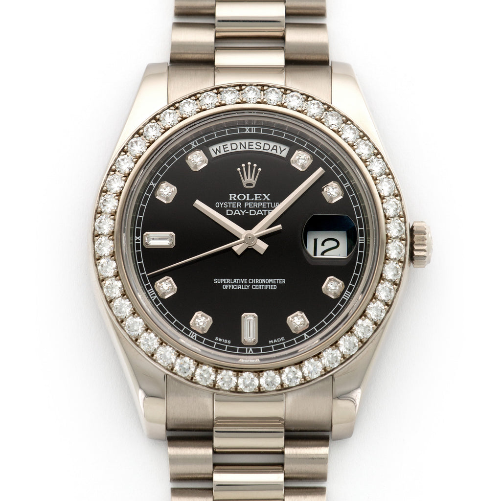Rolex Day-Date II 218349 18k WG  Mint Unisex 18k WG Black with Diamond  Markers 41mm Automatic Current White Gold Bracelet Original Box