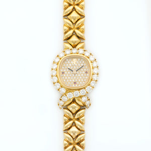 Audemars Piguet Vintage 66926BA 18k YG  Excellent Ladies 18k YG Pave diamond and ruby 20.58 X 25.55 Quartz 2000 Yellow Gold Bracelet B+P
