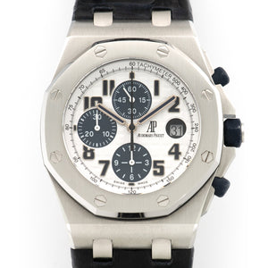 Audemars Piguet Royal Oak Offshore 26170ST.OO.D305CR.01 Steel  Excellent Gents Steel White with Blue Registers 44mm Automatic 2011 Navy Crocodile Extrait de Registre