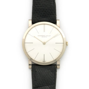 Audemars Piguet Vintage N/A 18k WG  Likely Never Polished, Original Finish Unisex 18k WG Original and Untouched White Dial 32mm Manual 1970s Black Leather Strap Handmade Leather Travel Pouch