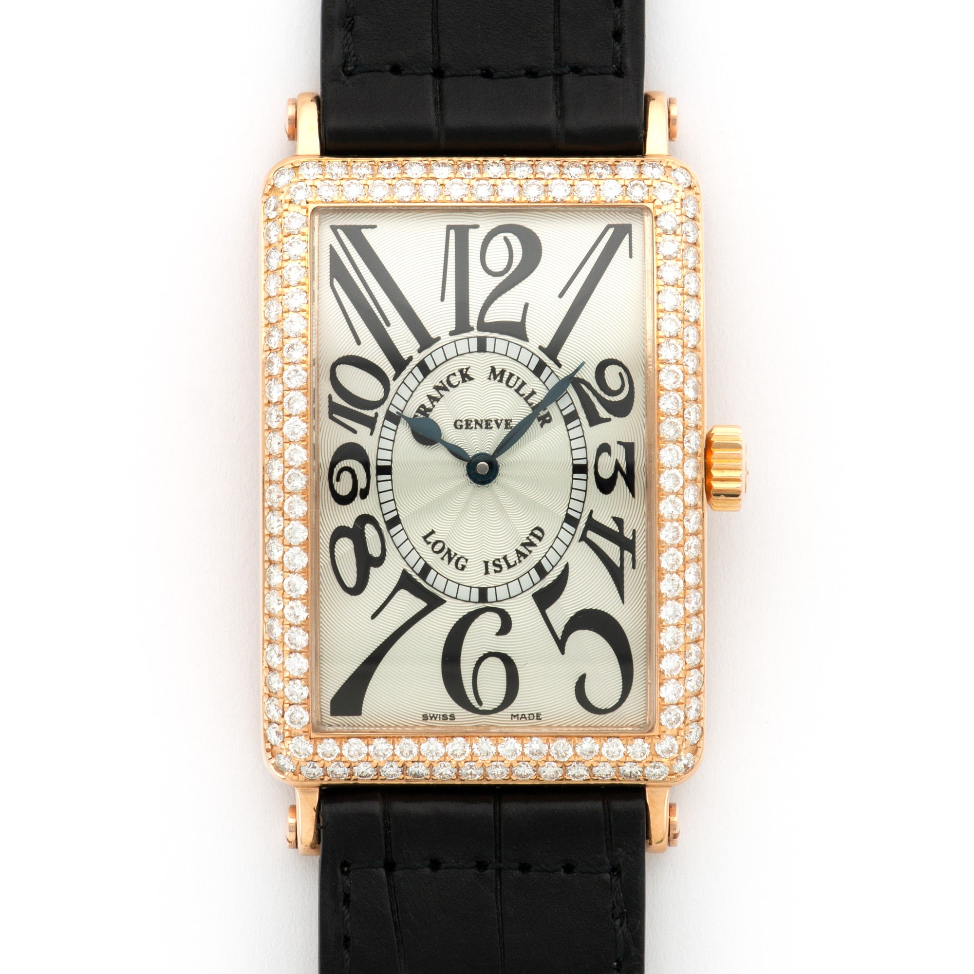 Franck Muller Long Island 1000SCD 18k RG  Excellent Unisex 18k RG Silver 30mm X 42mm Automatic 2000s Black Crocodile Paper